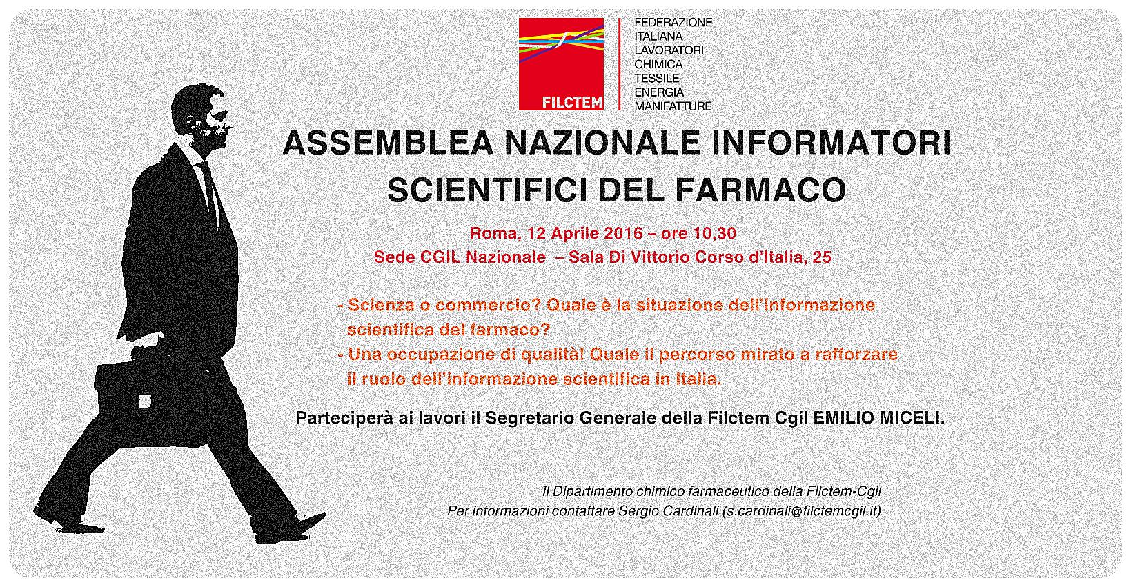 Il 12 aprile a Roma l'assemblea nazionale degli INFORMATORI SCIENTIFICI DEL FARMACO promossa dalla Filctem-Cgil
