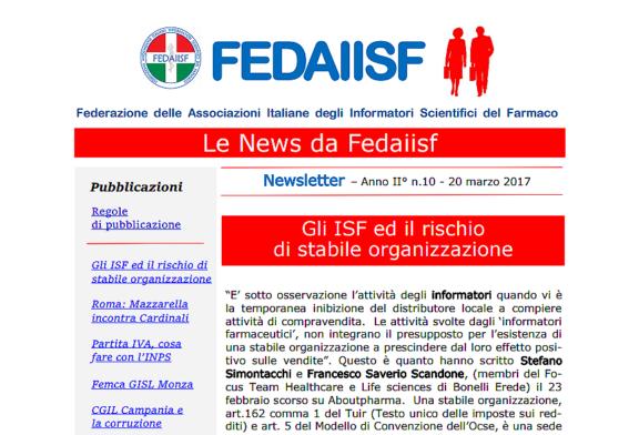 News Letter Fedaiisf n.10 distribuita in esclusiva per gli iscritti