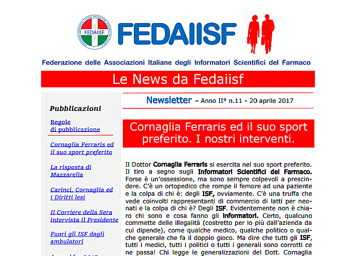 Newsletter Fedaiisf n. 11 in distribuzione agli associati