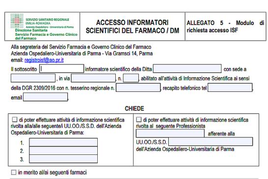 Parma. L'allucinante modulo di richiesta d'incontro fra ISF e Medici all'Ospedale. N.d.R.