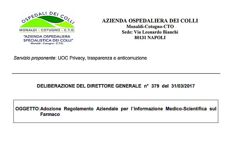 Negli Ospedali di Napoli regolamento per ISF proposto da UOC anticorruzione. Gli ISF a rischio ambientale