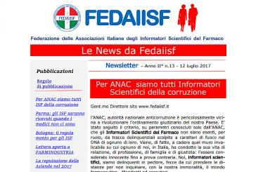 "Inviata la ""News Letter Fedaiisf"" n. 13 agli associati"
