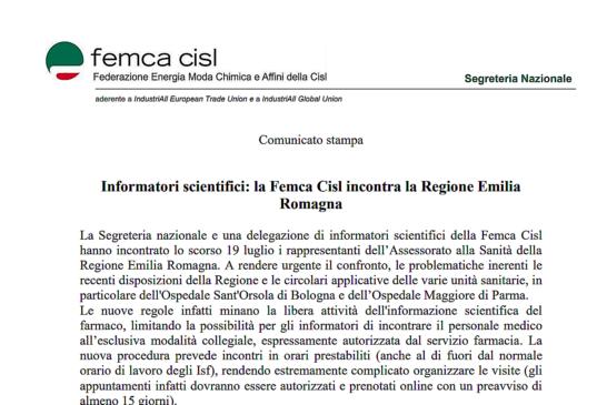 Regolamento Informatori scientifici: la Femca Cisl incontra la Regione Emilia Romagna