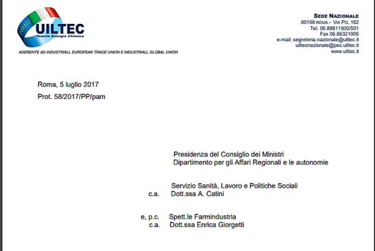 UILTEC richiede al Governo tavolo congiunto sull'informazione scientifica del farmaco