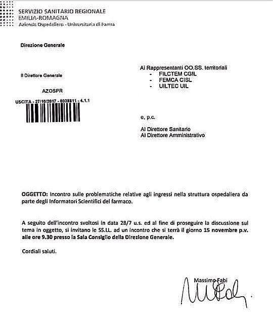 Regolamento ISF. Nuovo incontro Ospedale di Parma con le OO.SS. per il 15 novembre