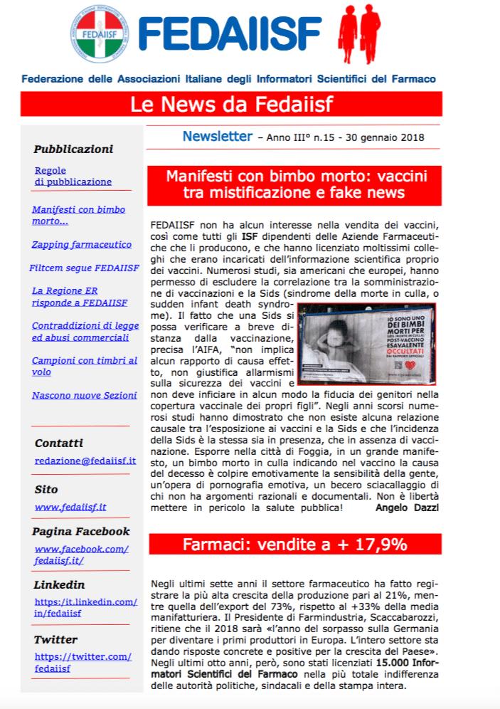 Agli iscritti è stata inviata la News Letter Fedaiisf n. 15