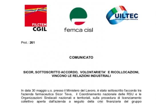 Sottoscritto l'accordo tra Sicor Teva, le RSU e le Organizzazioni Sindacali sulla procedura di licenziamento collettivo