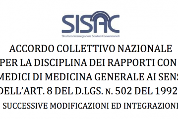 Approvazione ACN (Accordo Collettivo Nazionale) della Medicina Generale