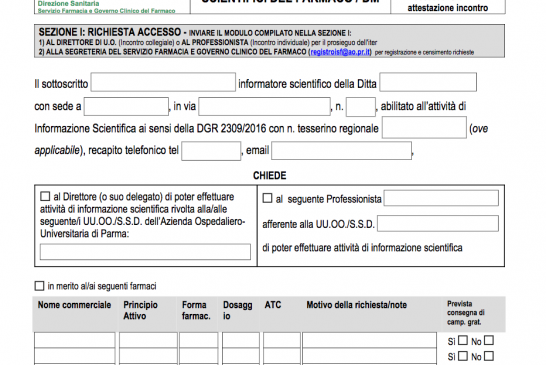 Parma. Approvato il nuovo Regolamento dell'Azienda Ospedaliero-Universitaria di Parma per l'accesso degli informatori scientifici del farmaco