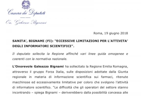 Comunicato stampa On. Bignami: La Regione Emilia-Romagna non può interferire col D.Lgs. 219/06 e sulla Convenzione dei medici di base per l'attività degli ISF