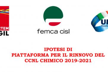 Intesa unitaria ipotesi piattaforma CCNL Chimici per il rinnovo 2019 – 2021. Aprire confronto su ISF