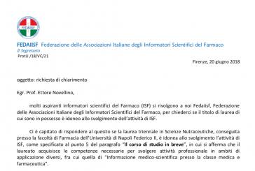 Richiesta chiarimento al Prof. Novellino. La Laurea in Nutraceutica della Federico II è idonea per l'attività di ISF?