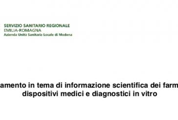 AUSL Modena. Il nuovo regolamento per gli Informatori Scientifici del Farmaco
