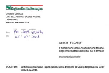 Regolamento ISF. La Regione scrive a Fedaiisf: