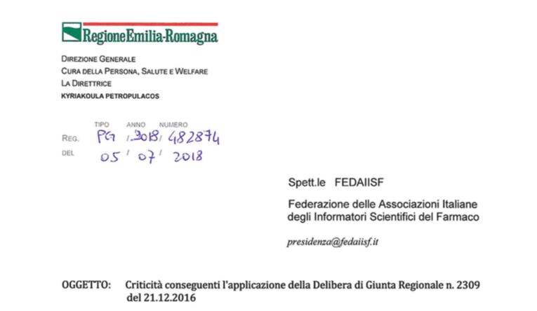 """Regolamento ISF. La Regione scrive a Fedaiisf: """"Risolveremo le residue criticità"""". N.d.R."""
