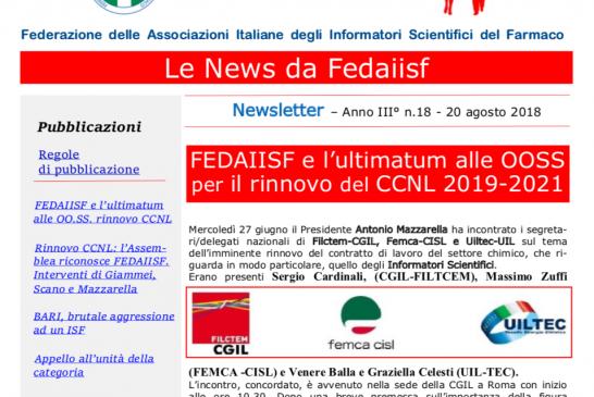 In distribuzione la News Letter Fedaiisf n. 18 agli iscritti