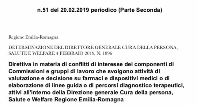 Regione Emilia-Romagna. Direttiva sul conflitto d'interesse dei componenti della Commissione Regionale del Farmaco