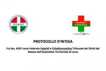 Lecce. Firmato Protocollo d'intesa Sez. Fedaiisf con Cittadinanzattiva TdM