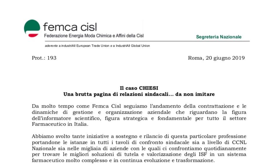 """Anche Femca CISL prende posizione sul caso Chiesi: """"Una brutta pagina sindacale da non imitare"""""""