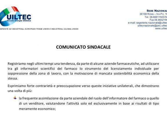 Licenziamenti ISF. UILTEC: Mancato rispetto della legge