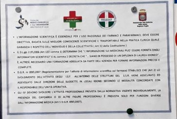 Lecce. Cartelli Fedaiisf/Az. Ospedaliera nelle Unità Operative