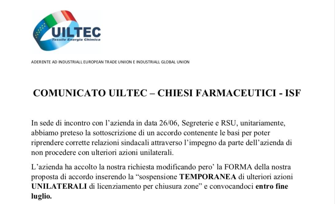 Licenziamenti Chiesi. UILTEC: la nostra posizione rimane quella di non firmare l'accordo
