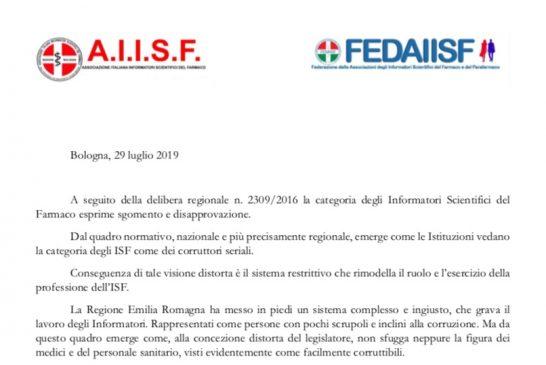 Emilia Romagna. Comunicato delle Sezioni su Regolamento ISF: auspichiamo un immediato e radicale ripensamento da parte della Regione che porti ad un nuovo regolamento condiviso con gli ISF
