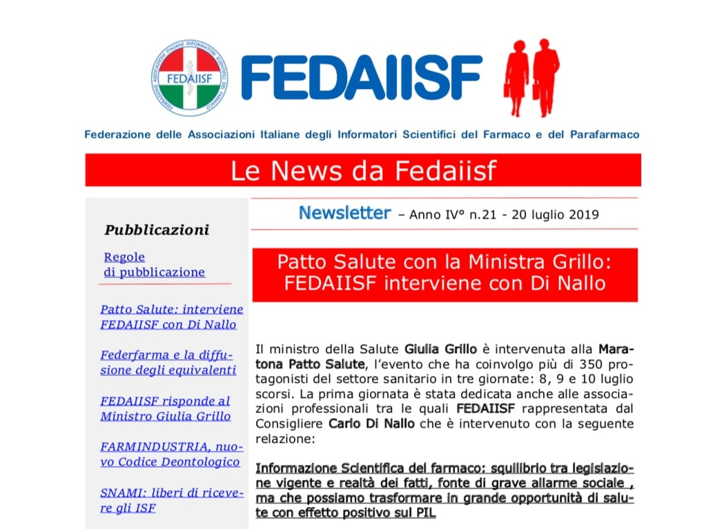 In distribuzione la Newsletter Fedaiisf n. 21