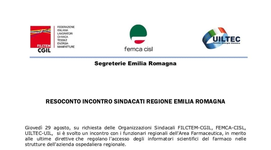 """Incontro Sindacati Regione Emilia Romagna sul """"Regolamento ISF"""". Clima costruttivo. Gli ISF lavoreranno in serenità"""