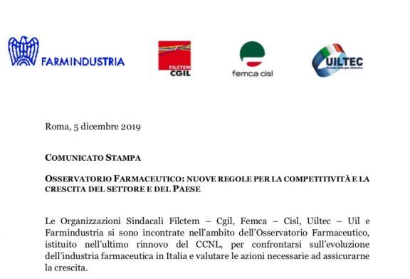 Osservatorio farmaceutico Farmindustria Sindacati.
