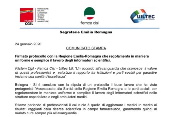 Emilia-Romagna. Comunicato sindacale sull'accordo sull'Applicativo del Regolamento ISF