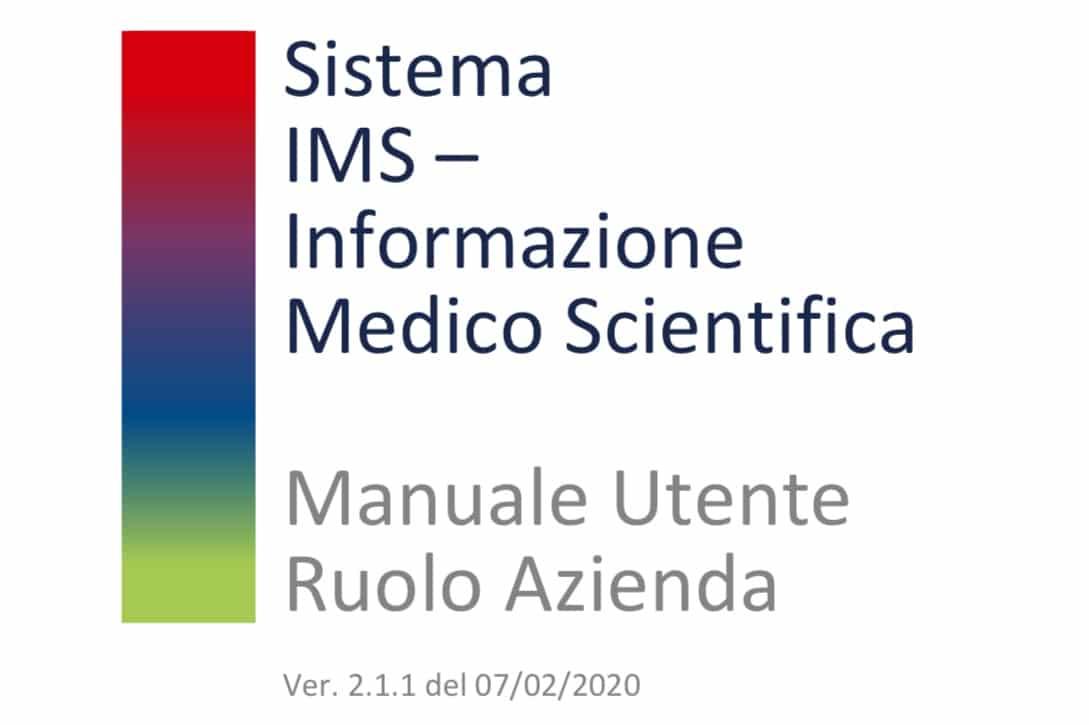 AIFA. Aggiornamento del Manuale Utente Front End IMS relativo alla Scheda Informatori Scientifici e al Deposito del Materiale Promozionale