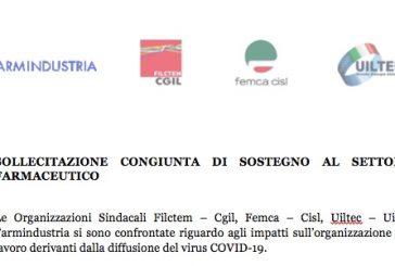 Coronavirus. Lettera congiunta Farmindustria OO.SS. al Governo su sollecito a sostegno del settore farmaceutico