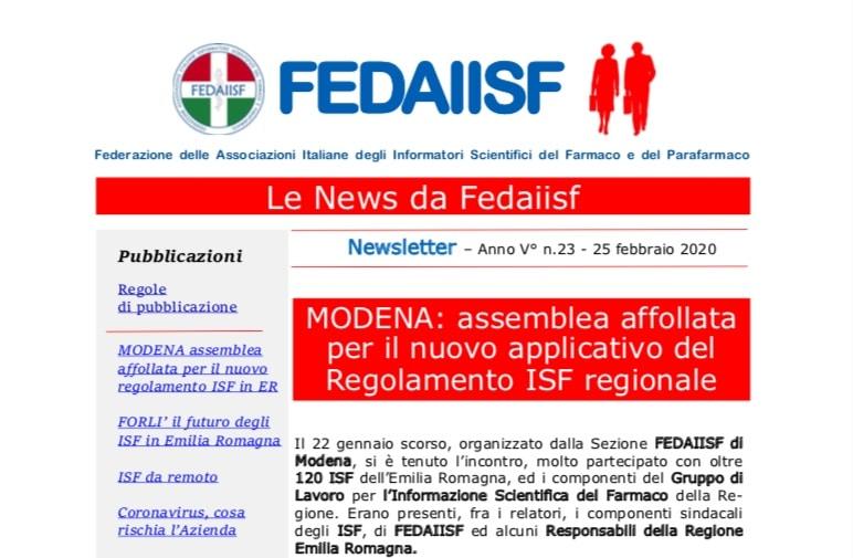 In distribuzione agli Associati le News Fedaiisf n. 23 del 25 febbraio 2020