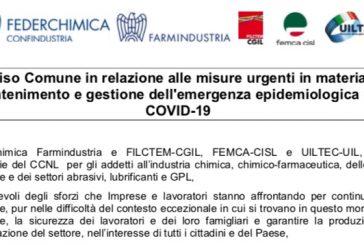 Avviso comune OO.SS. Farmindustria su coronavirus