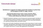 AstraZeneca. Stanziati due milioni di euro in beni e servizi 'di pronto utilizzo' a Ospedali, Protezione Civile e Personale Sanitario