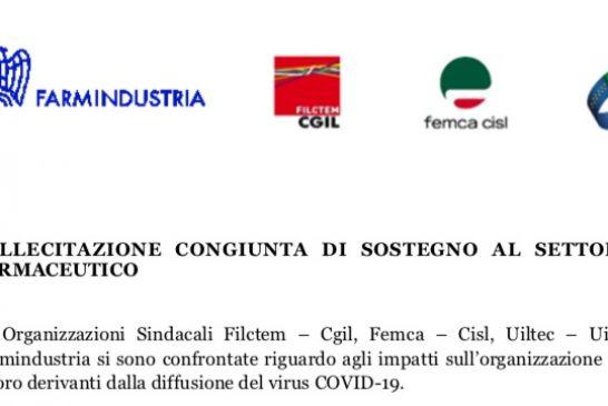 OO.SS. e Farmindustria sollecitano il Governo a prendere misure di integrazione salariale per il settore, compresi gli informatori scientifici