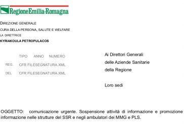 Emergenza Coronavirus. Emilia Romagna: sospesa attività ISF fino all 30 aprile