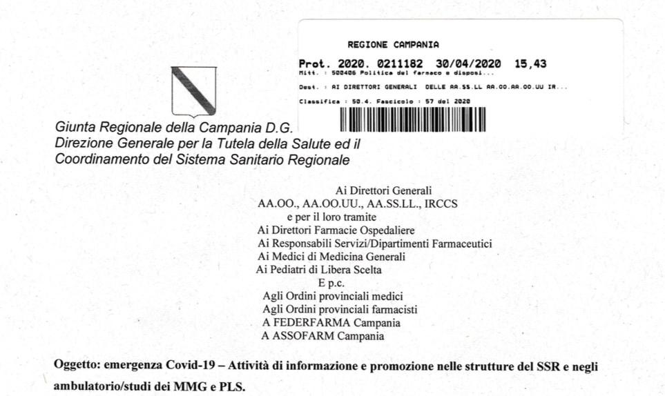 Campania. L'attività degli ISF potrà riprendere il 4 maggio 2020 prediligendo la visita a distanza o da remoto