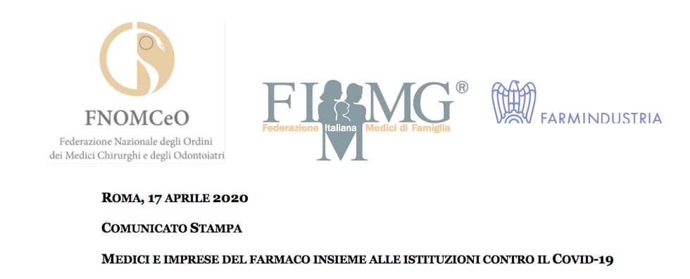 Comunicato Farmindustria con FNOMCeO e FIMMG: garantire la continuità dell'attività di informazione scientifica su tutte le terapie