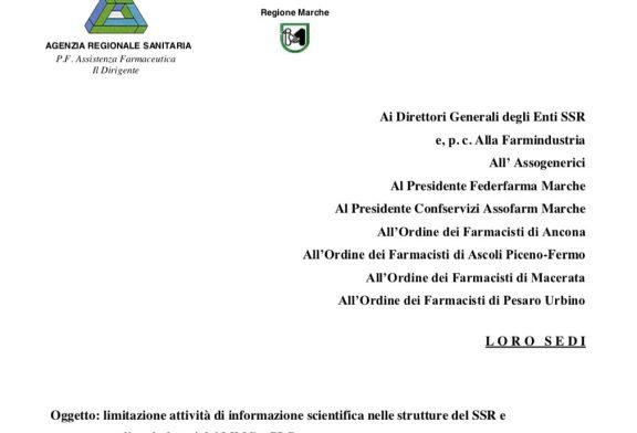 Regione Marche. Invito ai medici a limitare attività ISF fino al 31 maggio 2020