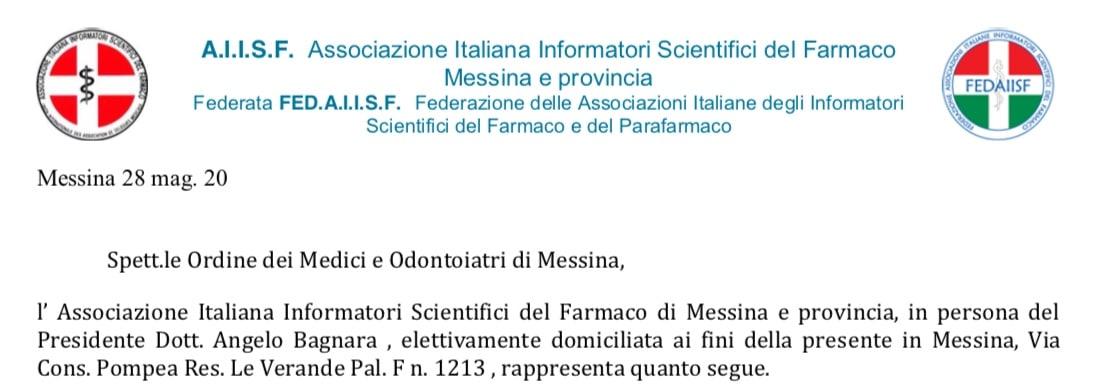 """AIISF Messina, Federata Fedaiisf. Lettera a OMCeO: """"Le norme nazionali e regionali permettono agli ISF dal 25 maggio di incontrare di presenza i medici"""""""