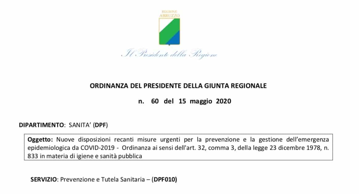 Abruzzo. Ripresa attività ISF dal 18 maggio