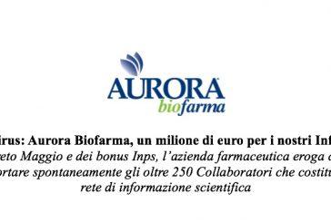Aurora Biofarma. Nuove assunzioni e un milione a fondo perduto al sostegno del reddito degli ISF