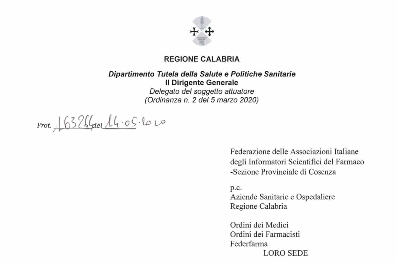 La Regione Calabria risponde a Fedaiisf Cosenza. L'attività degli ISF è equiparabile agli accessi dell'utenza. Privilegiando l'attività a distanza