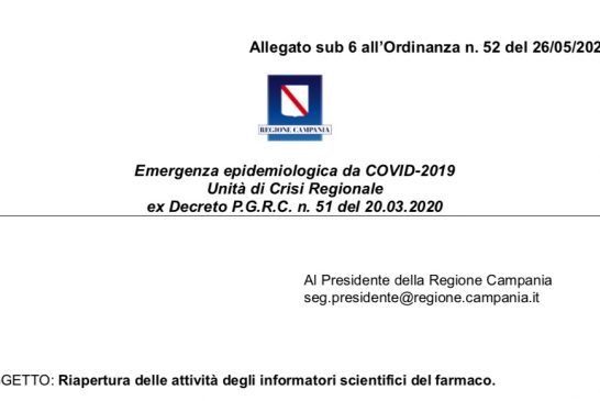 Campania. Ripresa attività ISF secondo linee guida Conferenza delle Regioni