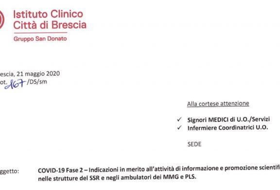 Istituto Clin. Città di Brescia. ISF da remoto, in casi eccezionali in presenza