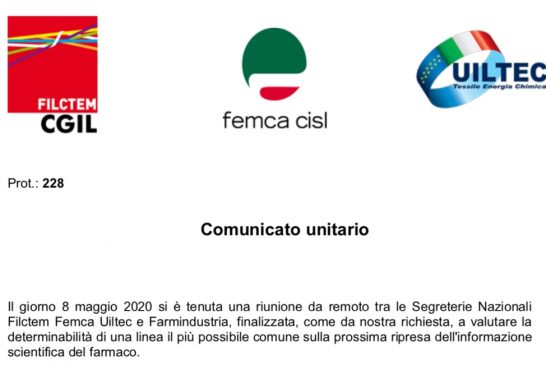 Il Comunicato unitario delle OO.SS. sull'incontro con Farmindustria
