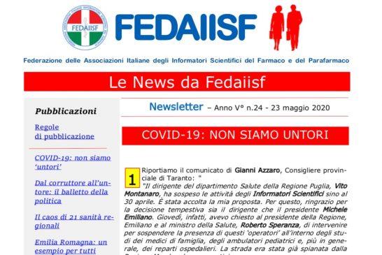 News Letter Fedaiisf n. 24 in distribuzione agli associati