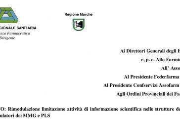 Regione Marche. Privilegiare attività ISF da remoto, di persona se necessario previo appuntamento e tracciamento